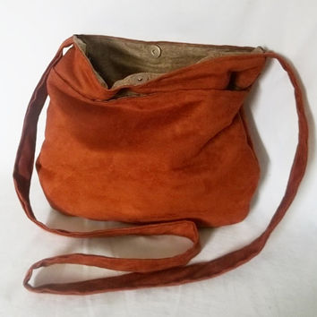 Cognac vegan suede hobo - copper slouch bag - Handmade handbags - Made to Order