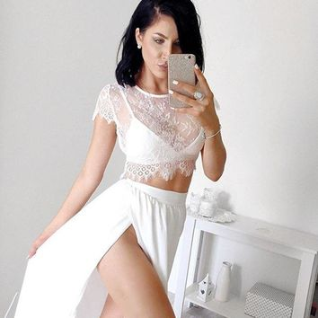 2 piece set women hollow out lace crop top side split pink white dress vestidos drop shipping