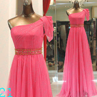 One Shoulder Bridesmaid Dress, Long Tulle Beaded Evening Dress, Sexy Fuchsia Long Prom Dress, Beaded Sexy Evening Dress Shiny, Evening Dress