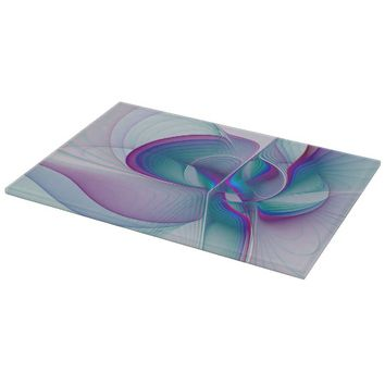 Colorful Modern Pink Blue Turquoise Fractal Art Cutting Board