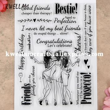 Good Friends Let's celebrate Scrapbooking DIY photo cards rubber stamps clear stamps transparent stamp 11.5x15cm KW8101307