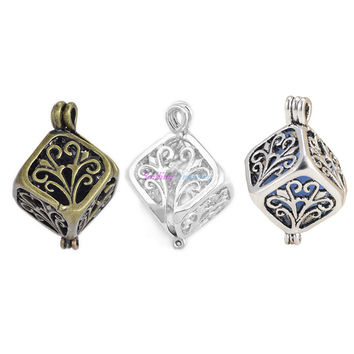 20pcs Vintage Silver Plated Cubic Hollow Tree Cage Diffuser Necklace Essential Oil Aromatherapy Locket Pendants For DIY Perfume
