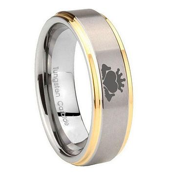 8MM Step Edges Claddagh Design 14K Gold IP Tungsten 2 Tone Laser Engraved Ring