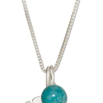 "Sterling Silver 18"" Sand Dollar Necklace With Blue Riverstone Bead"