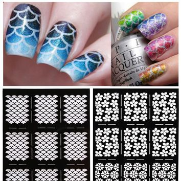 1Sheet Nail Stamping Stickers Nail Vinyls Irregular Grid Pattern Stamping Nail Art Tips Manicure Stencil Nail Hollow Stickers