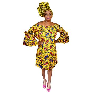 Ankara Print Off Shoulder Dress