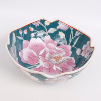 Vintage Chinese Famille Rose Enamel Ware Bowl Asian Rice or Soup Footed Green Bowl with Flowers