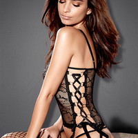 Lace-Up Stretch Lace Bustier