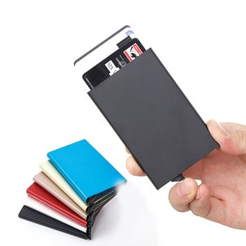 RFID Blocking Credit Card Holder Slim Minimalist Wallet Front Pocket Card Protector Aluminum Alloy Holds 6 Cards Outdoor Tool