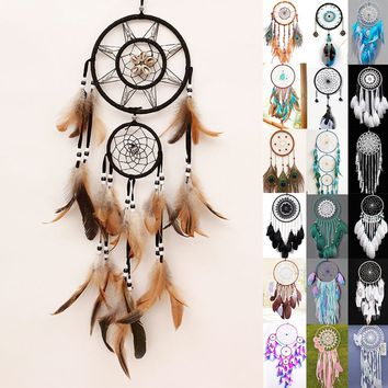 Nice Peacock Feathers Shells Feathers Beads Totem Dreamcatcher Home Decor Wall Hanging Ornaments Good Night Dream Catcher Wind C