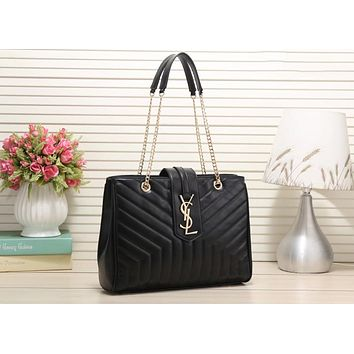 YSL Fashion Women Shopping Bag Leather Metal Chain Shoulder Bag Handbag Black I-LLBPFSH
