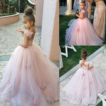 2016 Pink Blush flower girl dress Spaghetti Straps junior ball gown kid birthday prom party pageant dress