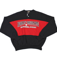 Vintage 80s Harley Davidson Vancouver 2-Button Sweatshirt Made in Canada Mens Size Medium