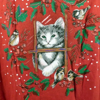Ugly Christmas Sweater Vintage Sweatshirt Kitty Cats Xmas Tacky Holiday