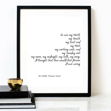 'Funeral Blues' Memorial Poster Poetry Print, WH AUDEN Poem