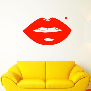 Vinyl Wall Decal Sexy Girl Lips Beauty Mark Makeup Stickers (2128ig)