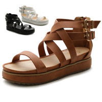 Ollio Womens Shoes Side Buckle Ankle Strap Zip Closure Gladiator Platform Sandal