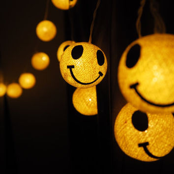 SALE Handmade Funny Smiley Cotton ball String Lights Fairy lights Party Decor Wedding Garden Spa and Holiday Lighting