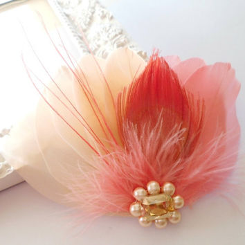 Bridal Hairpiece, Feather Fascinator, Bridal Hairpiece, Cream, Peach, Coral, Peacock, Vintage Wedding
