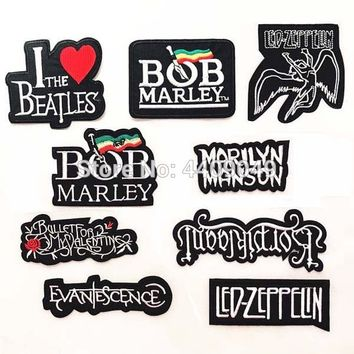 band logo BOB marley LED ZEPPELIN embroidered iron on patch, cool fashion vest biker jacket backpack clothing DIY acessories