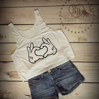 Disney Heart Love Hands - Crop Tank Top- Sizes S-XL.