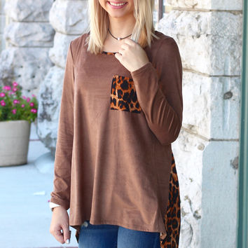 Leopard Got Back Suede Top {Mocha}