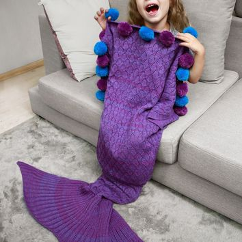 Pom Ball Openwork Pineapple Crochet Mermaid Blanket Throw For Kids