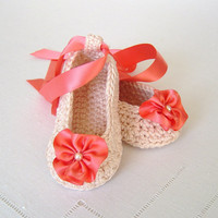 Crochet Pattern Baby Ballerina Slippers Pattern for Bridal Booties Wedding Shoes for Baby