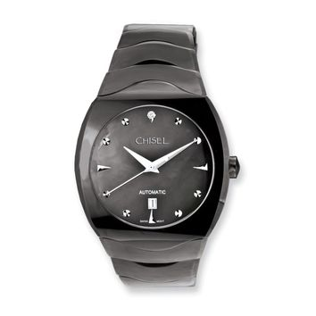 Mens Chisel Tungsten & Black Mother of Pearl Black Dial Watch