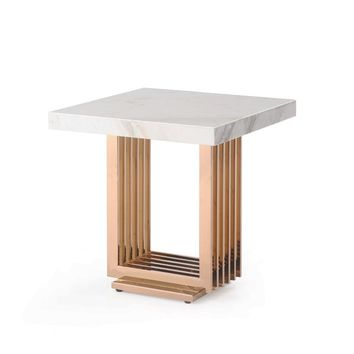 Modrest Kingsley Modern White Marble & Rose Gold End Table