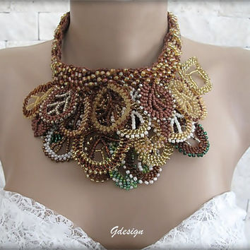 Handmade peyote technique necklace,colorful seedbeads,unique,brown,citrine,green,ivory seed beads,authentic,OOAK