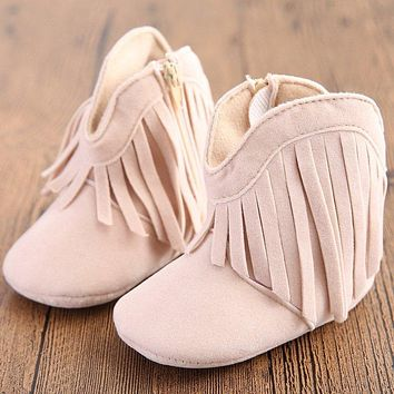 Moccasin Moccs Newborn Baby Girl Boy Kids Tassel Prewalker Solid Fringe Shoes Infant Toddler Soft Soled Anti-slip Boots Booties