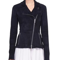 THE ROW Paylee Asymmetric Zip-Front Suede Leather Moto Jacket and Matching Items