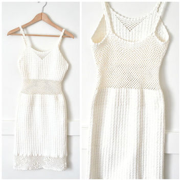 BOHO crochet BEACH wedding dress vintage 1970s 70s IVORY white macrame bohemian mesh festival dress small
