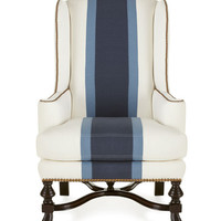 Massoud Blue Colorblock Wing Chair