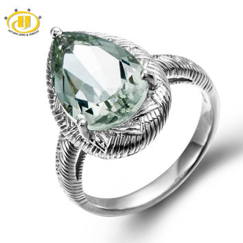 Hutang Solid 925 Sterling Silver Natural Green Amethyst Cocktail Ring Gemstone Fine Jewelry women's Party