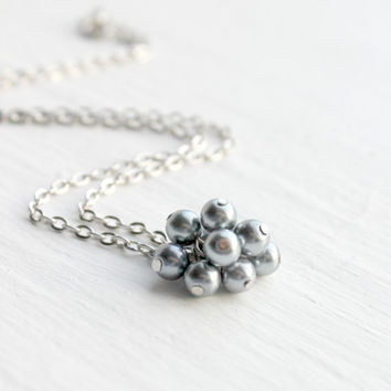 Simple Silver and Gray Faux Pearl Beaded Cluster Pendant Necklace - Wedding and Bridesmaid Party Jewelry - Ready to Ship