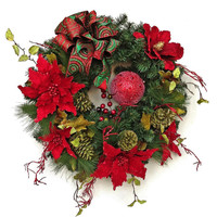 Poinsettia Christmas Wreath for Door, Holiday Wreath, Winter Wreath,Christmas Decor,Outdoor Wreath,Front Door,Outdoor Christmas Door Decor