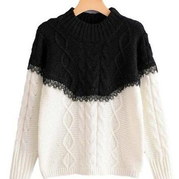 Cable Knit Lace Trim Sweater