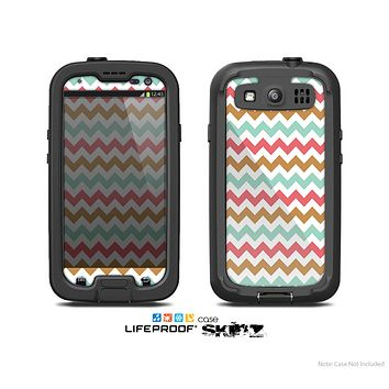 The Vintage Brown-Teal-Pink Chevron Pattern Skin For The Samsung Galaxy S3 LifeProof Case