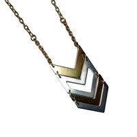 Gold and Silver Chevron Charm Necklace