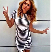 FASHION IRREGULAR CUTE STRIPE DRESS