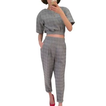 Women Short Sleeve Plaids Top w Double Slant Pockets Cropped Pants Gray XS - Walmart.com