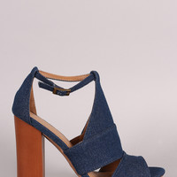 Bamboo Denim Slit Mule Peep Toe Wooden Heel