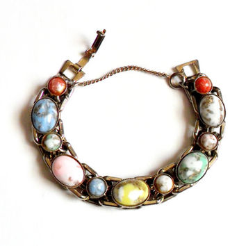 Vintage Confetti Art Glass Link Bracelet Cabochon Safety Chain Link Pink Blue Yellow Red Gold White Green Multicolored