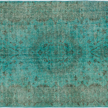 "Sold. 5'2"" x 8'7"" Aqua Green Turkish Overdyed Rug"