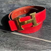 heb678 HERMES H buckle vintage leather belt red / gold plated total length 80cm