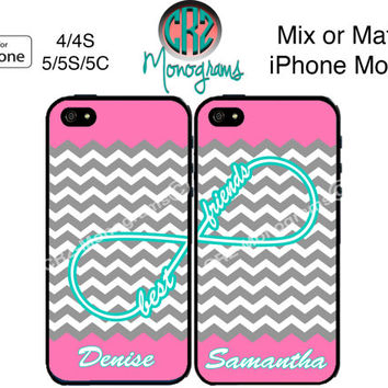 Best Friends iPhone Case - iPhone 5C Case or iPhone 4 Case - Infinity Chevron iPhone Case - Personalized iPhone 5S Case - Two Cases