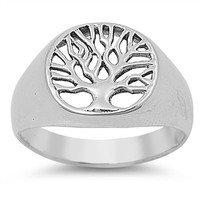 925 Sterling Silver Shaki Khans Tree of Life 13MM Ring