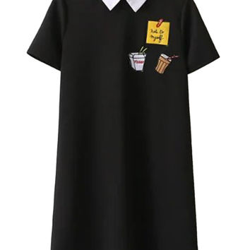 Black Contrast Collar Patch Detail Short Sleeve Shift Dress